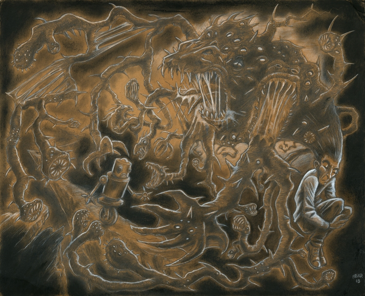 Monsters, Pencil, Char Coal,